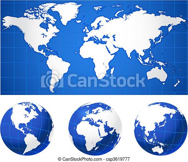 地球儀, 世界地図 - csp3619777