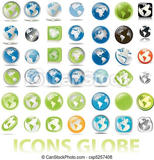 地球儀, 地球, コレクション, アイコン - csp5257408