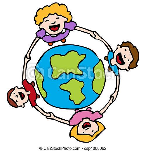 地球, のまわり, 手を持つ - csp4888062