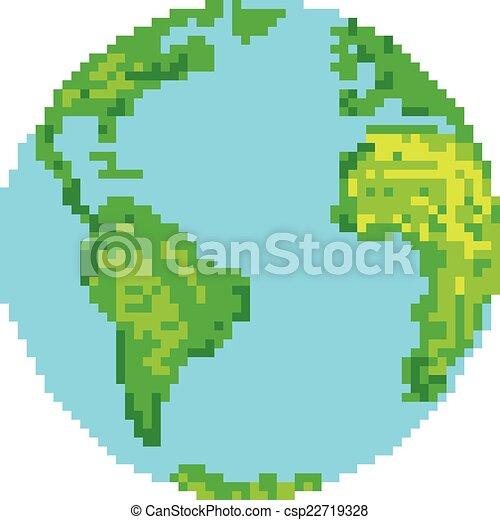 地球, スタイル, ピクセル - csp22719328