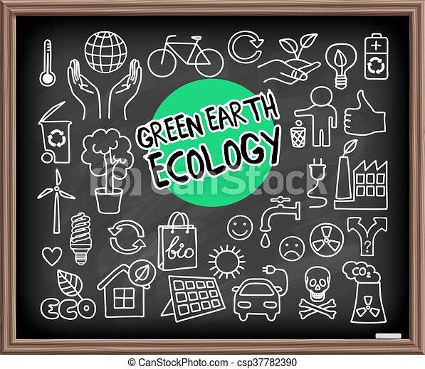 地球, セット, エコロジー, 緑, いたずら書き - csp37782390