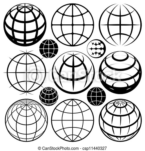 地球, ベクトル, セット, サイン - csp11440327
