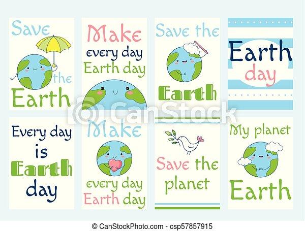 地球, ラベル, セット, 日 - csp57857915