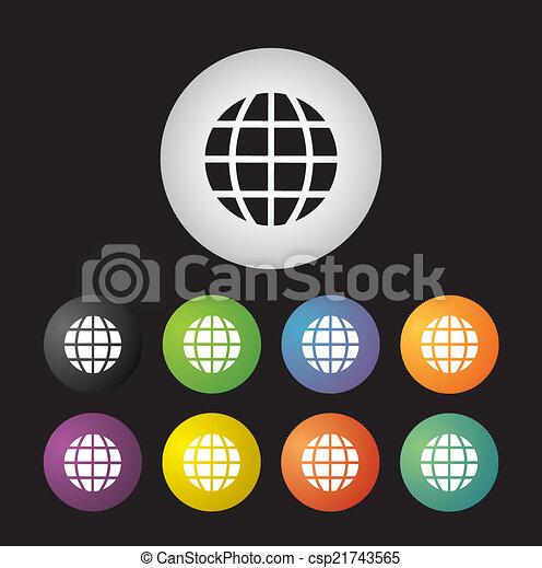 地球, 地球, アイコン, セット - csp21743565