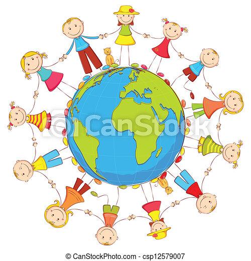 地球, 子供, のまわり - csp12579007