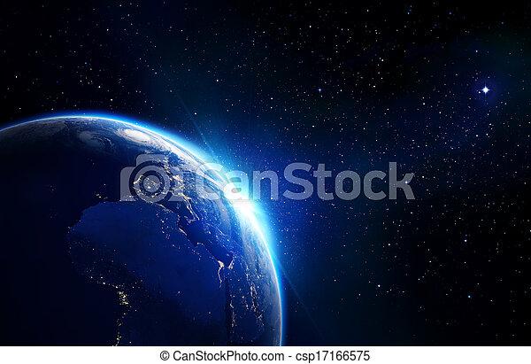地球, 青, -, 地平線, 照ること - csp17166575