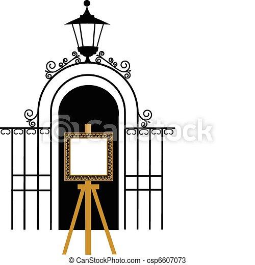 型, イーゼル, 公園, 図画, 門 - csp6607073