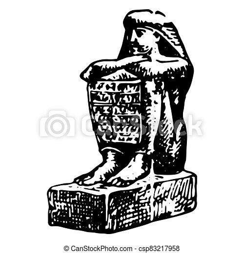 型, エジプト人, 女, 彫版, 古代, モデル - csp83217958