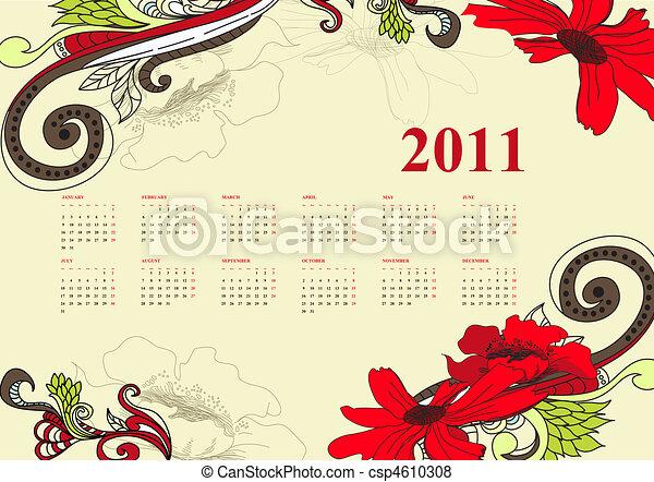 型, カレンダー, 2011 - csp4610308