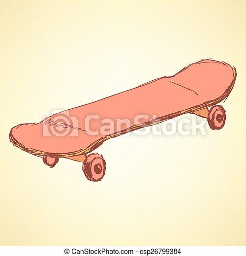 型, スケッチ, スケート, スタイル, 板 - csp26799384