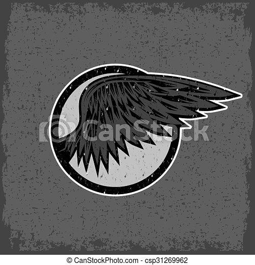 型, スポーツ, グランジ, 翼, ラベル - csp31269962