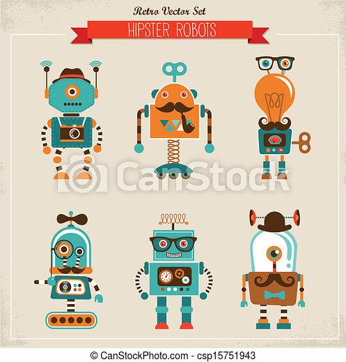 型, セット, 情報通, ロボット, アイコン - csp15751943