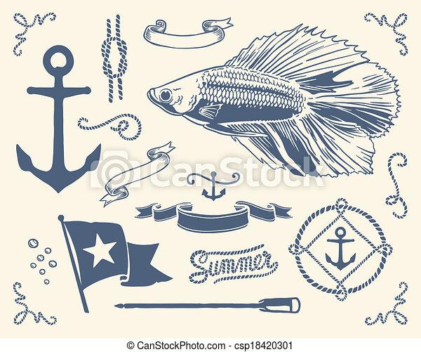 型, セット, 海事 - csp18420301