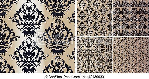 型, セット, 装飾, ダマスク織 - csp42189933