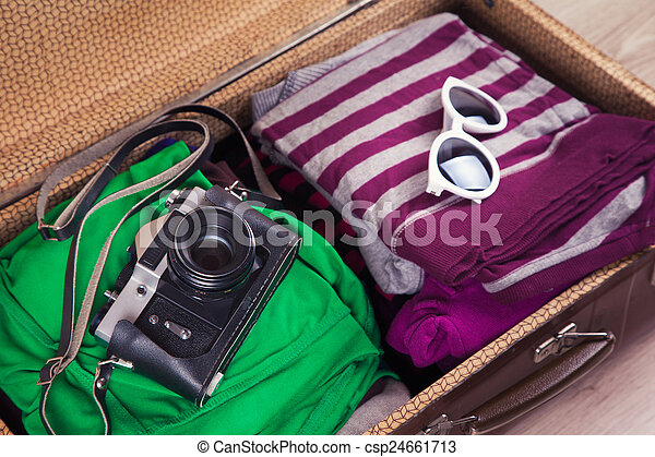 型, パックされた, スーツケース - csp24661713