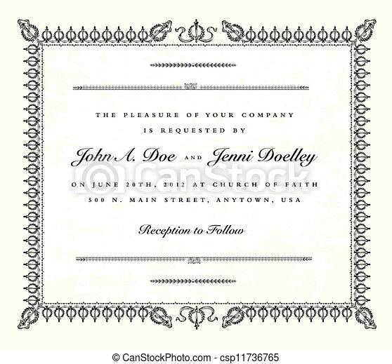 型, フレーム, ベクトル, 結婚式の招待 - csp11736765