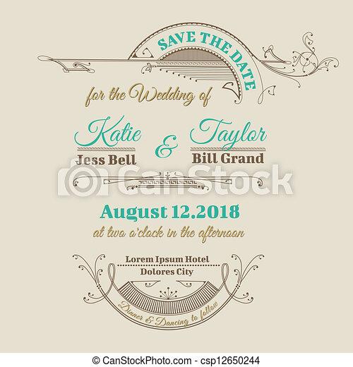 型, フレーム, 招待, -, 主題, ベクトル, 結婚式, カード - csp12650244