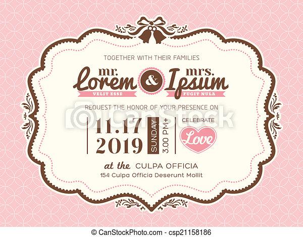 型, フレーム, 結婚式, テンプレート, 招待, カード - csp21158186