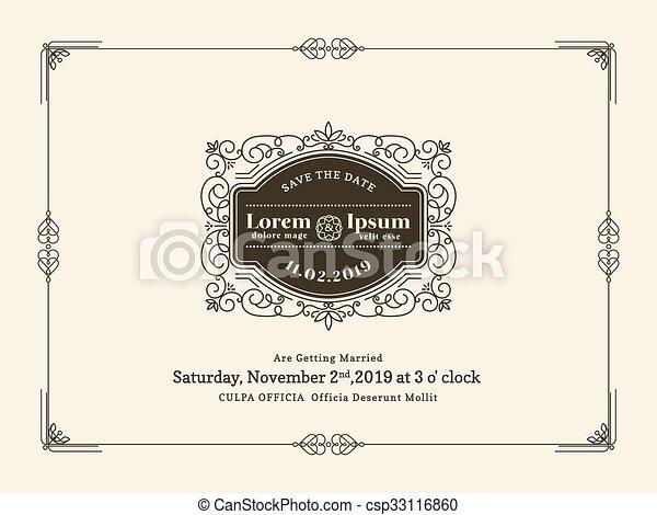 型, フレーム, 結婚式, テンプレート, 招待, ボーダー, カード - csp33116860