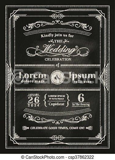 型, フレーム, 結婚式, 黒, 黒板, 招待, カード - csp37862322