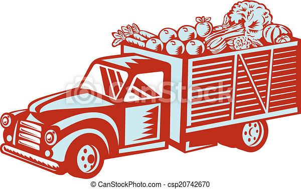 型, 出産, ピックアップ トラック, レトロ, 収穫 - csp20742670
