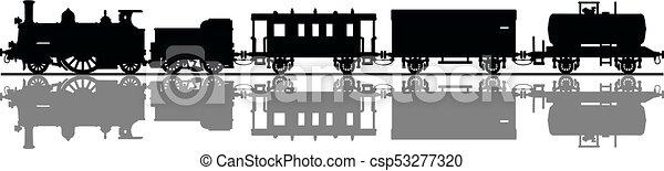 型, 列車, 蒸気 - csp53277320