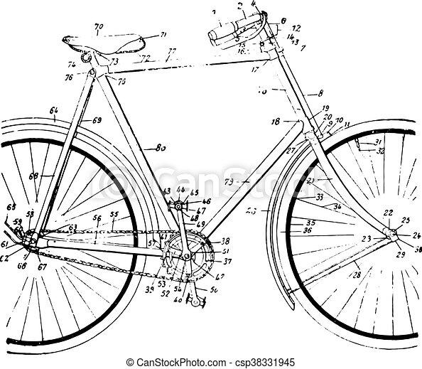 型, 単一, 鎖, ローラー, engraving. - csp38331945