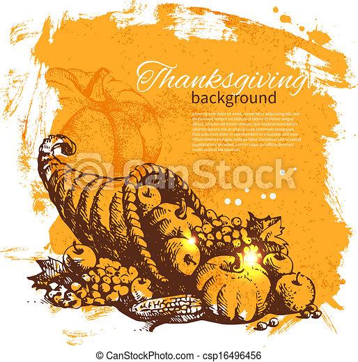 型, 感謝祭, 手, 背景, 引かれる, 日 - csp16496456