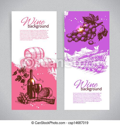 型, 手, バックグラウンド。, 引かれる, 旗, ワイン, illustrations. - csp14687019
