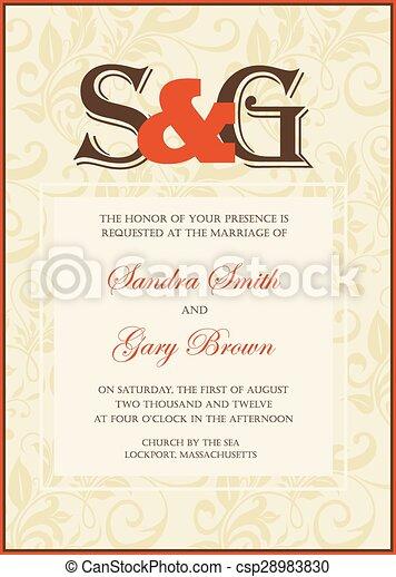 型, 招待, 結婚式 - csp28983830