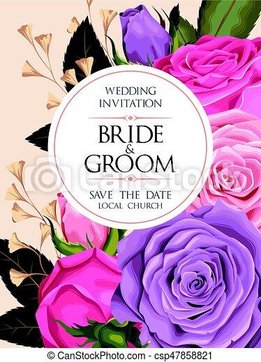型, 結婚式の招待 - csp47858821