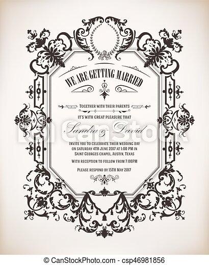 型, 結婚式の招待 - csp46981856