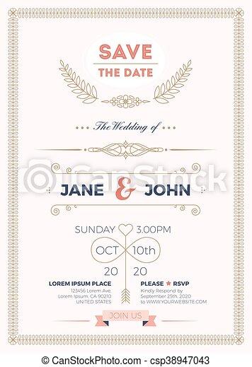 型, 結婚式, カード, テンプレート, 招待 - csp38947043