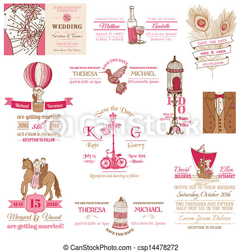 型, 結婚式, -, コレクション, ベクトル, 招待, スクラップブック, デザイン - csp14478272