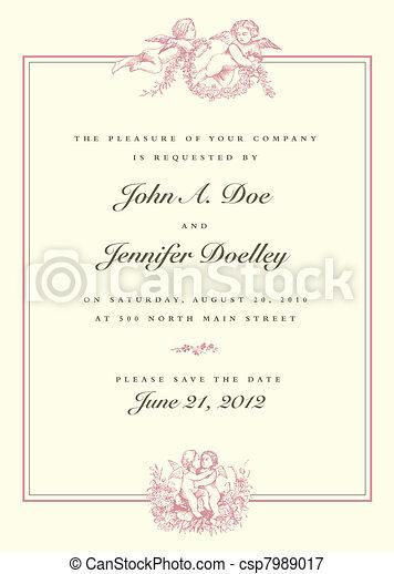 型, 結婚式, ベクトル, キューピッド, 招待 - csp7989017