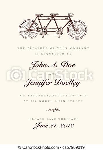 型, 結婚式, ベクトル, 自転車, 招待 - csp7989019