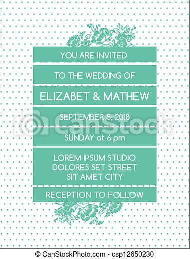 型, 結婚式, -, 主題, ベクトル, 招待, 花, カード - csp12650230