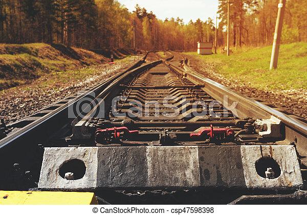 型, 鉄道 トラック, 森林 - csp47598398