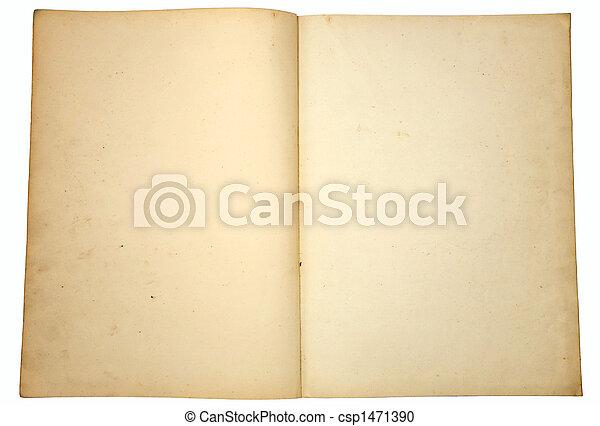 型, book., ペーパー, ブランク, 黄色くなる, ページ - csp1471390