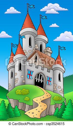 城堡, 中世紀, 小山 - csp3524615