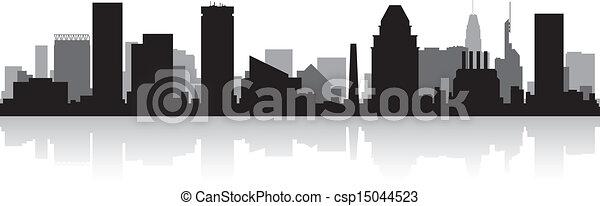 城市地平線, 黑色半面畫像, 巴爾的摩 - csp15044523