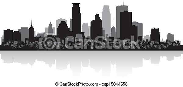 城市地平線, 黑色半面畫像, minneapolis - csp15044558