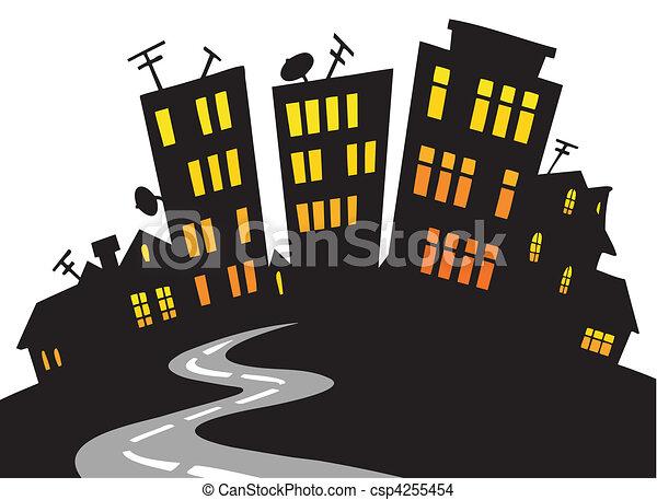 城市地平线, 卡通漫画 - csp4255454