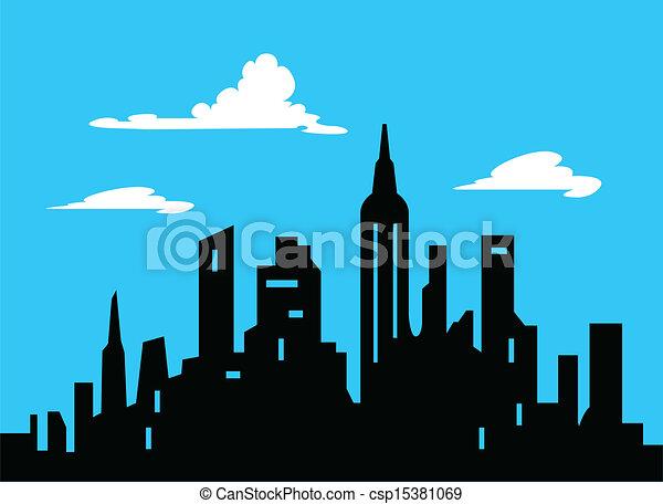 城市地平线, 图表, 风格, 卡通漫画 - csp15381069