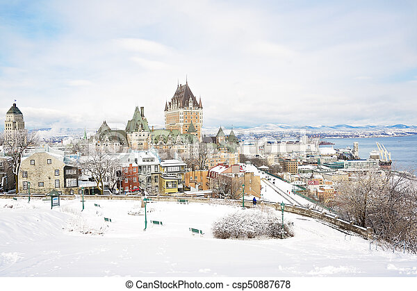 城市, 别墅, 具有历史意义, 魁北克, frontenac - csp50887678