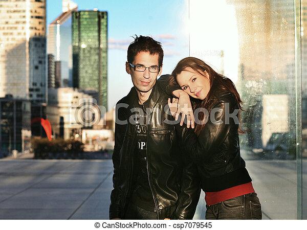 城市, 夫婦, 年輕, 矯柔造作, 背景, 在上方 - csp7079545