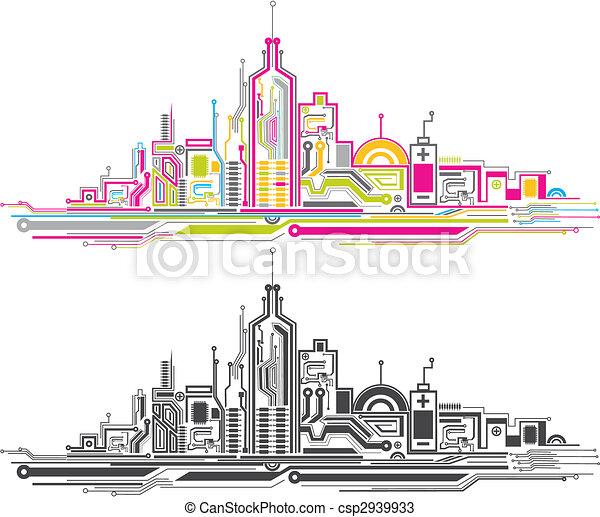 城市, 板, 电路 - csp2939933