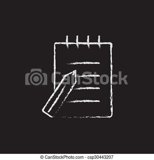 執筆ペン, パッド, chalk., 引かれる, アイコン - csp30443207