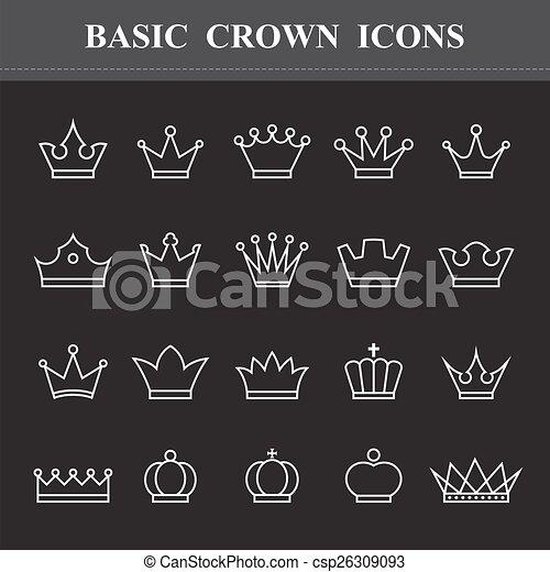 基本, セット, 王冠, アイコン - csp26309093