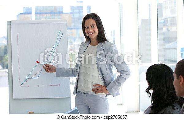 報告, 販売数量, 女性実業家 - csp2705057